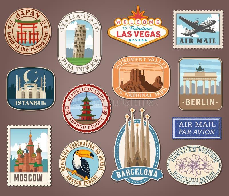 Tourismus-Marksteinaufkleber des Vektors internationale lizenzfreie abbildung