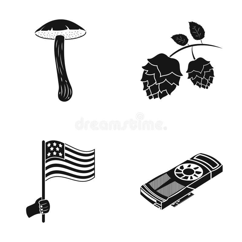 Tourismus, Natur, Ökologie und andere Netzikone in der schwarzen Art Informationen, Daten, Mitteilung, Ikonen in der Satzsammlung stock abbildung