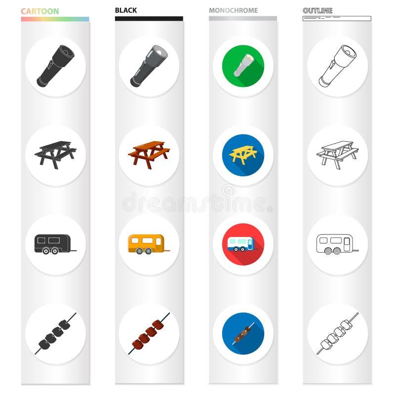 Tourismus, Transport, Werkzeuge und andere Netzikone in der unterschiedlichen Art Fleisch, Picknick, Ikonen in der Satzsammlung w lizenzfreie abbildung