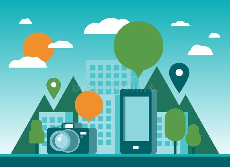 Tourismus und Mobilitätsstadtillustration stock abbildung