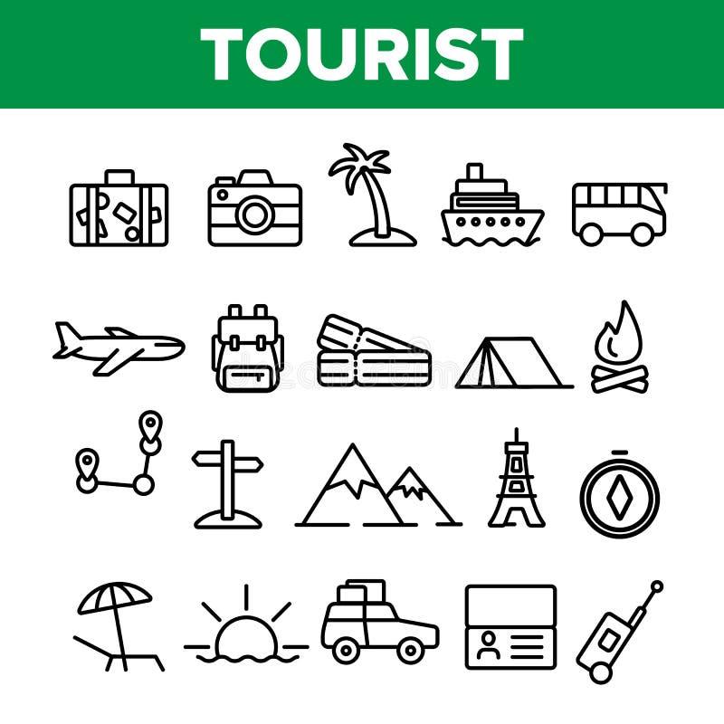 Tourismus und Reise um Weltvektor-linearen Ikonen-Satz stockbilder