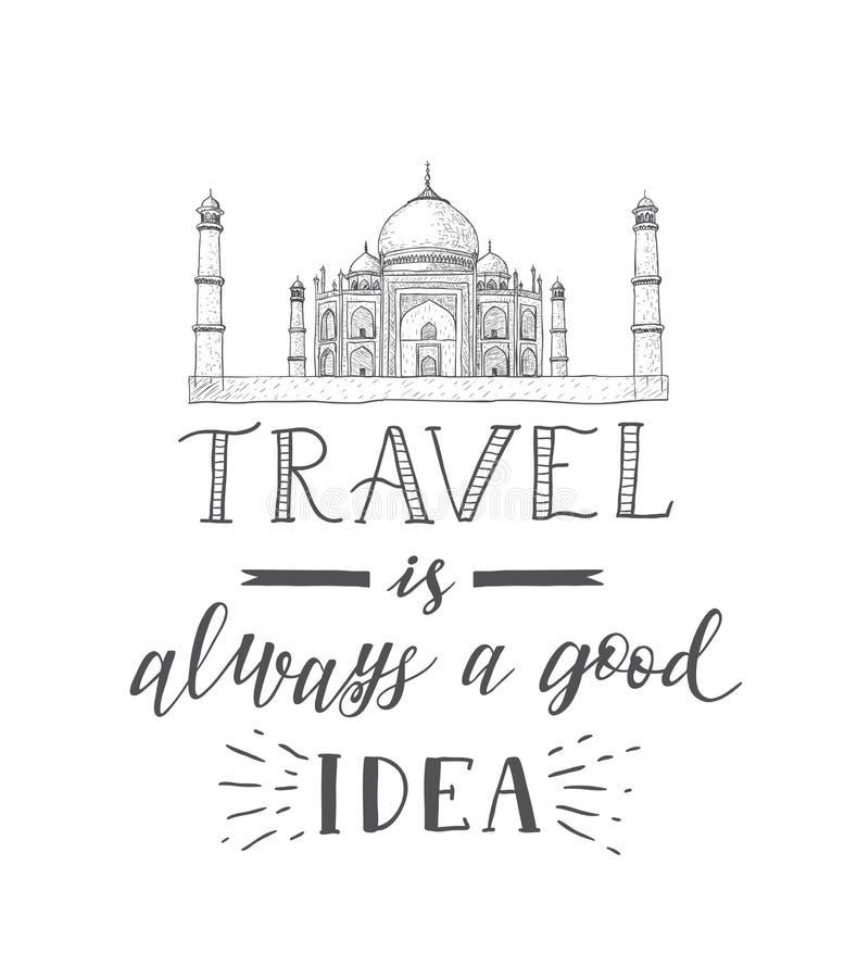 Tourismusfahne mit Handbeschriftungszitat Handgezogene Skizze von Taj Mahal stock abbildung