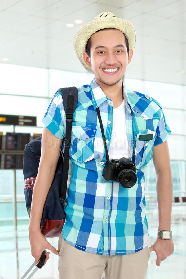 Tourist in airport stock photography
