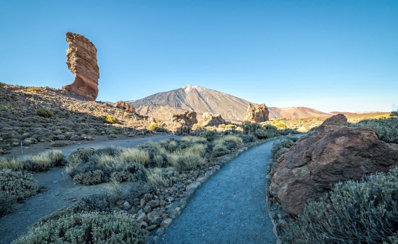 El Teide mountains park. Tourist alley throught El Teide mountains park stock photo