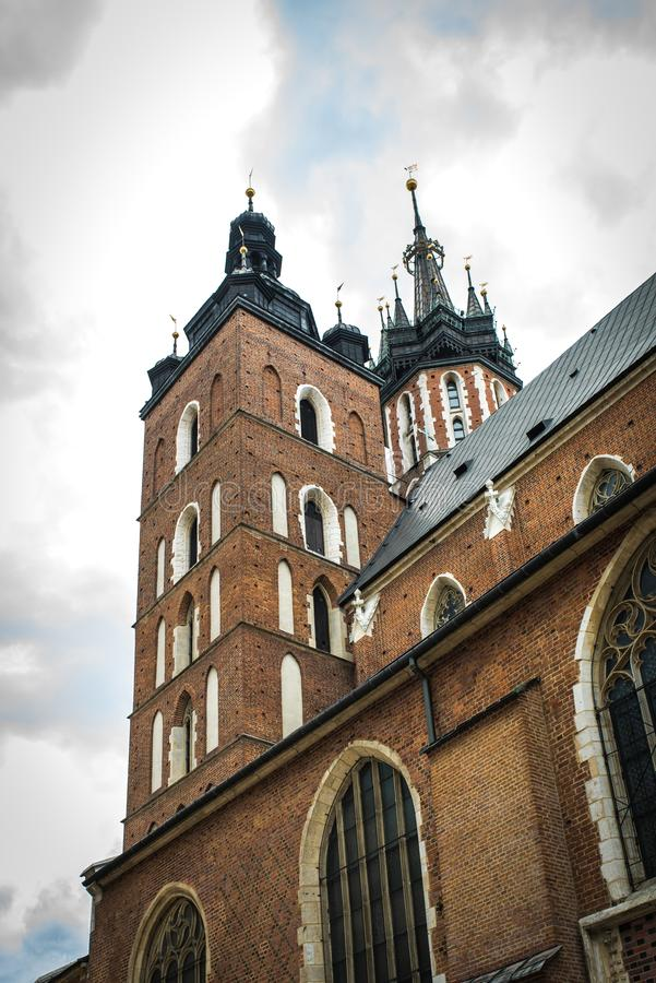 Tourist architectural attractions in the historical square of Kr. Tourist architectural attractions in the market square of Krakow stock photos