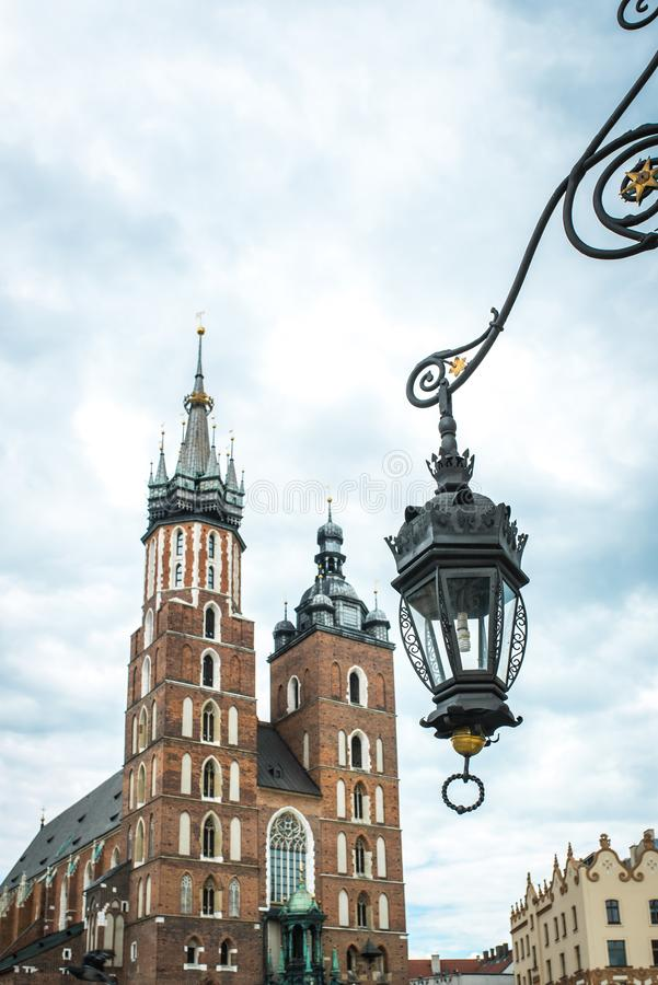 Tourist architectural attractions in the historical square of Kr. Tourist architectural attractions in the market square of Krakow stock photography
