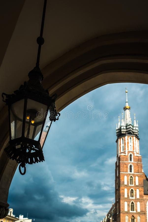 Tourist architectural attractions in the historical square of Kr. Tourist architectural attractions in the market square of Krakow royalty free stock image