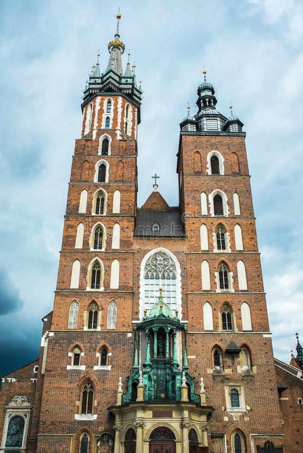 Tourist architectural attractions in the historical square of Kr. Tourist architectural attractions in the market square of Krakow royalty free stock images