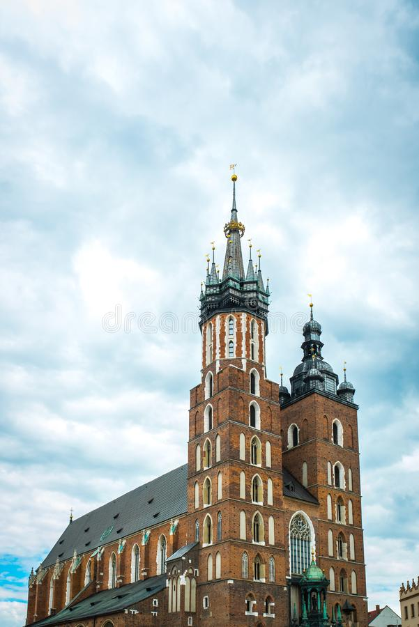 Tourist architectural attractions in the historical square of Kr. Tourist architectural attractions in the market square of Krakow royalty free stock photos