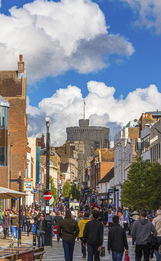 Tourist Area of Windsor with Castel in Background. WINDSOR, UK - October 1, 2016: Windsor Castle is a royal residence at Windsor in the English county of stock photos