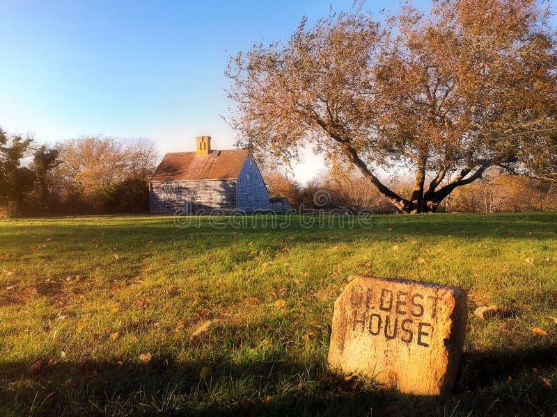 Oldest House Sunset Nantucket Island stock image