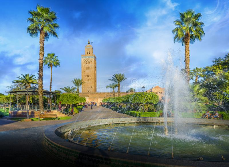 Koutoubia Mosque minaret at medina quarter of Marrakesh. Tourist attraction in Africa, Koutoubia Mosque minaret at medina quarter of Marrakesh in a daytime stock image