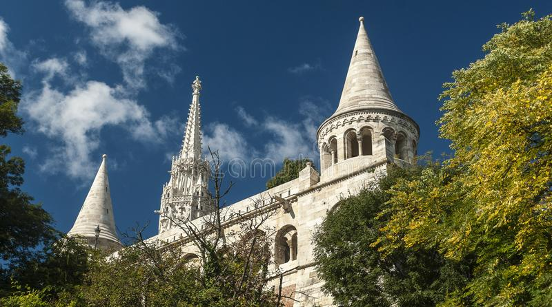 Fisherman`s Bastion in Buda Castle. Tourist attraction in the Buda Castle is the Fisherman`s Bastion stock images
