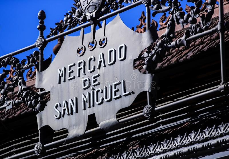 The tourist attraction of the city market is San Miguel counters with popular Spanish food. royalty free stock photos