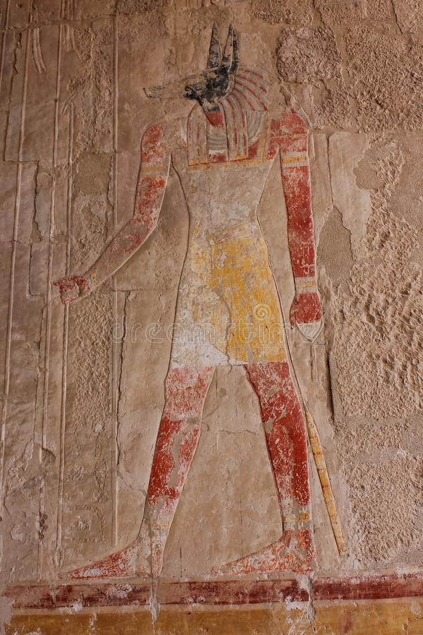 Tourist attraction. Egyptian Temple Hatsepsut, Unesco world heritage. In Egypt. Ancient Egypt images and hieroglyphics on wall in Karnak Temple. In Egypt royalty free stock photo