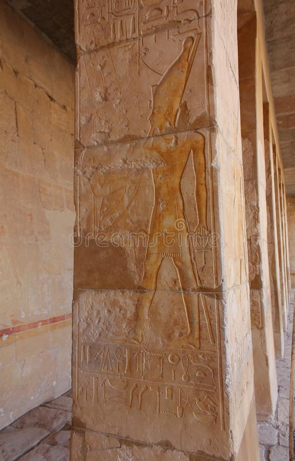 Tourist attraction. Egyptian Temple Hatsepsut, Unesco world heritage. In Egypt. Relief. Ancient Egypt images and hieroglyphics on wall in Karnak Temple. In stock image