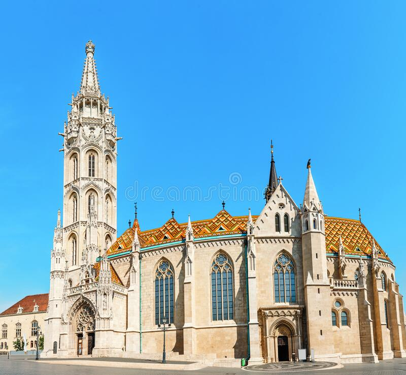 Tourist attraction and landmark of Budapest - amazing architecture of the Cathedral of St. Matthias. Church is the biggest. Main tourist attraction and landmark stock image