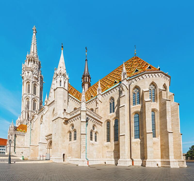 Tourist attraction and landmark of Budapest - amazing architecture of the Cathedral of St. Matthias. Church is the biggest. Main tourist attraction and landmark stock photos