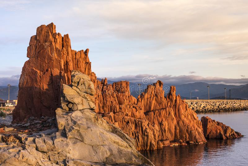 Tourist attraction Red Rocks called `Rocce Rosse` of Arbatax, Sardinia, Italy stock image