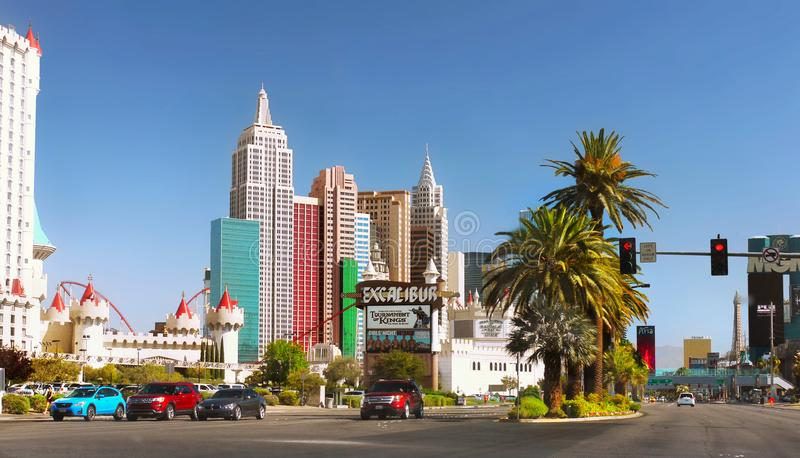 Las Vegas Tour, Tourist Attractions, Nevada. Tourist Attractions, Las Vegas Strip Tour. Skyscrapers - Hotels and Casinos buildings view from car window. Nevada stock photography