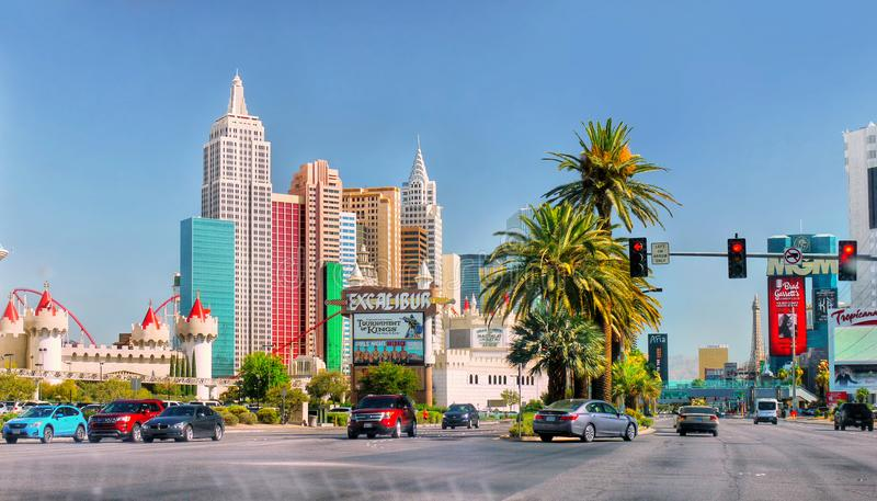 Las Vegas Tour, Tourist Attractions, Nevada. Tourist Attractions, Las Vegas Strip Tour. Skyscrapers - Hotels and Casinos buildings view from car window. Nevada stock images
