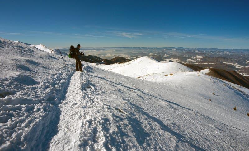 Tourist auf der Winter-Weise lizenzfreie stockfotografie