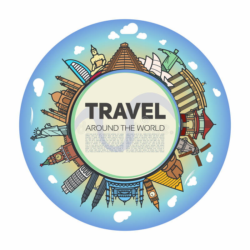 Tourist background with the center of the earth. In the middle and icons landmarks from around the world royalty free illustration