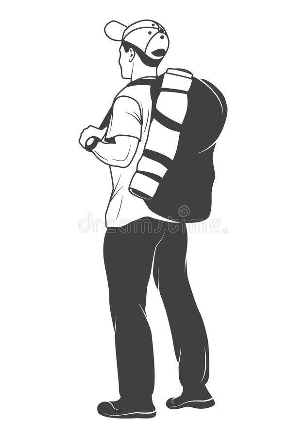 Tourist with a backpack royalty free illustration