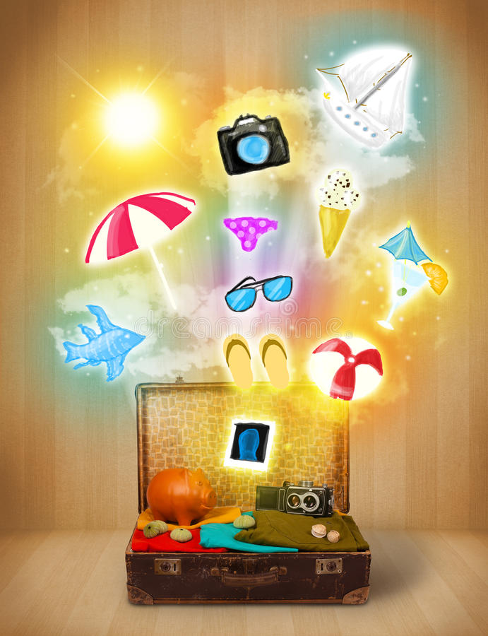 Tourist bag with colorful summer icons and symbols. On grungy background vector illustration