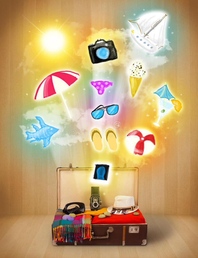Tourist bag with colorful summer icons and symbols. On grungy background royalty free illustration