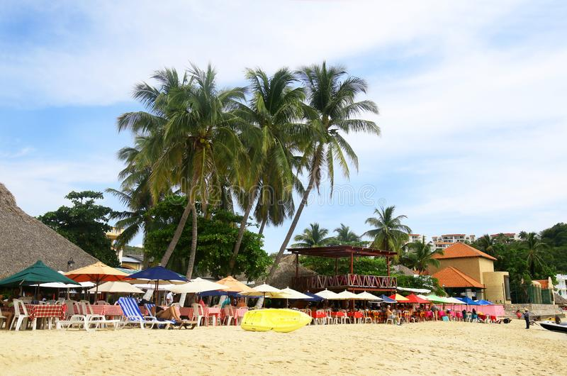 Tourist Beach Area, Santa Cruz Bay, Huatulco, Mexico. Sunny Day stock image