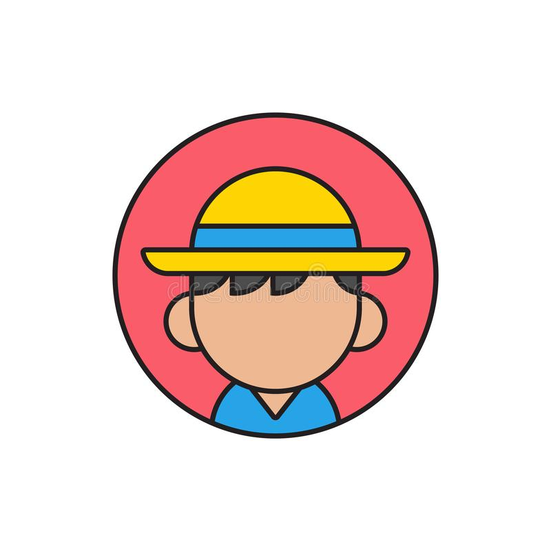 Tourist or beach boy avatar with cap on his head, flat profile picture icon design - Vector stock illustration