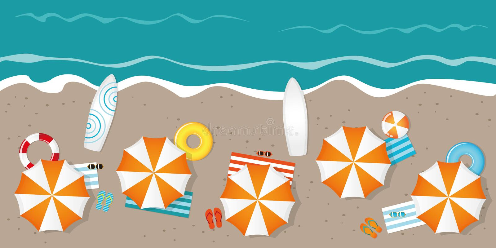 Tourist beach with umbrellas sunglasses and surfboards royalty free illustration