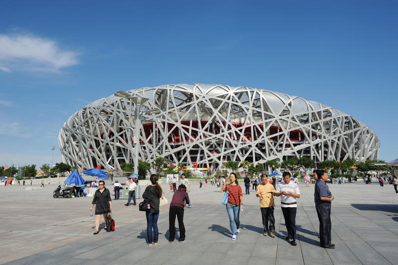 Tourist in the Beijing National Stadium royalty free stock images