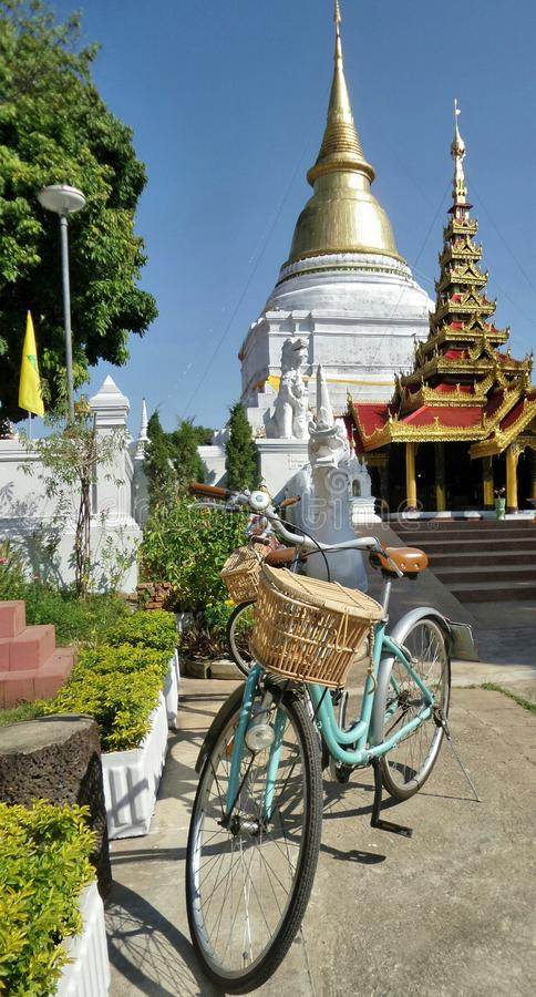 Tourist bicycle for city tour. Wat Pheathat Kao Don Tao , Lampang province , Northern Thailand . Almost every household own a bike since it is the most popular royalty free stock images