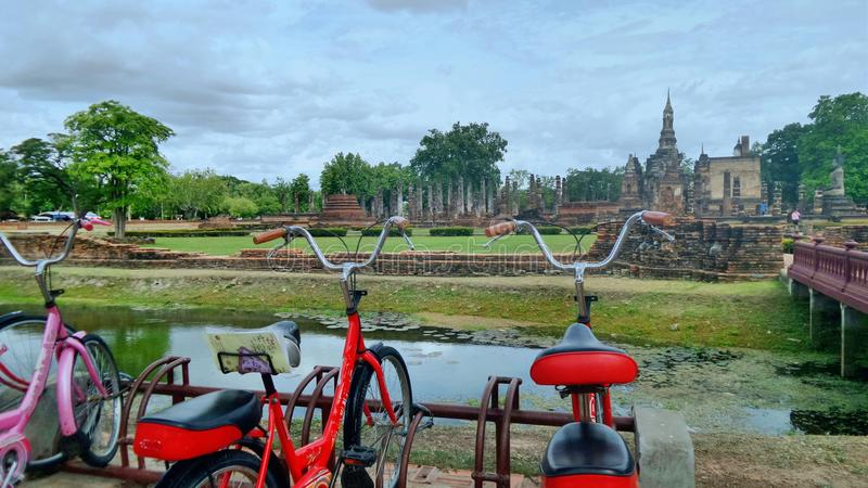 Tourist bicycle in historical heritage. Tourist bike through Sukhothai Historical Heritage . Almost every household own a bike since it is the most popular and stock images