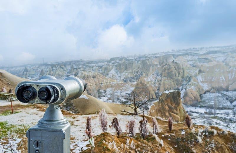 The tourist binoculars stock photography