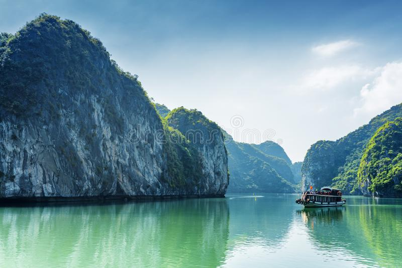 Tourist boat in the Ha Long Bay of the South China Sea, Vietnam stock images