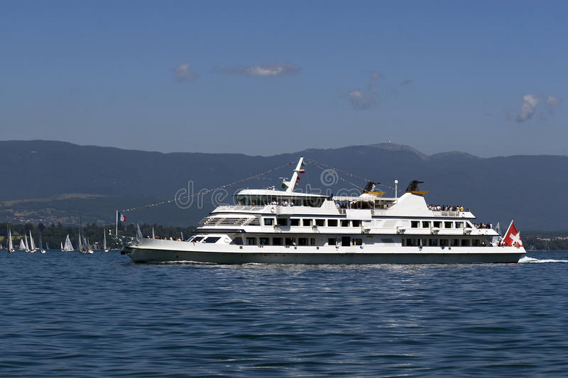 Tourist boat on Lac Leman royalty free stock photography