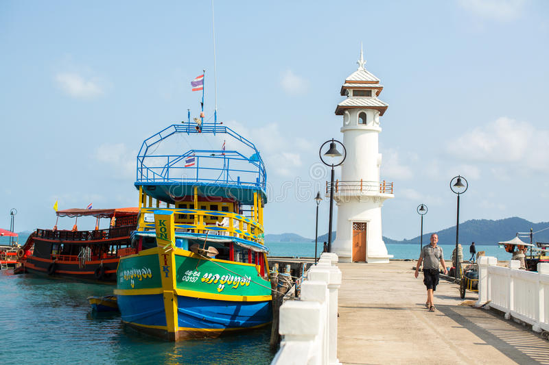 Tourist boat at the pier in Bang Bao fishing village stock image