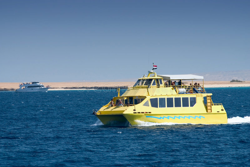 Tourist boat on river in Egypt royalty free stock photography