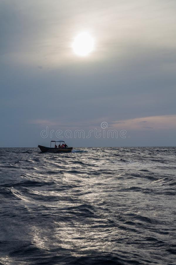 Tourist boat on a sea near Nilaveli, Sri Lan. Ka stock photography