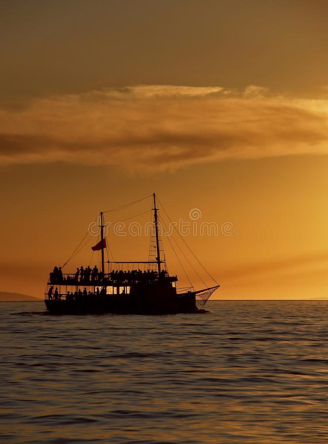 Download Tourist boat  in sunset stock image. Image of dawn, lake - 25626603