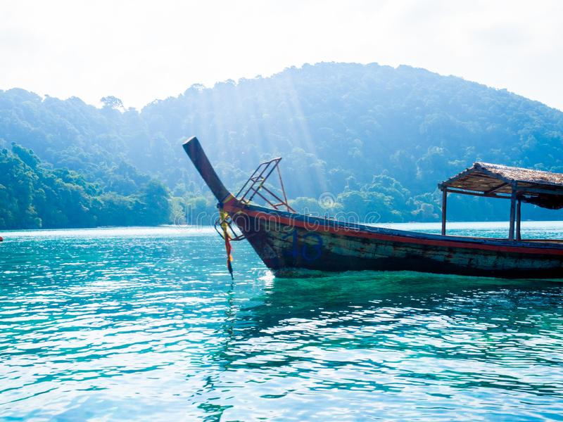 Tourist Boat to snorkeling at Surin Island, Thailand : March 2019 stock photography