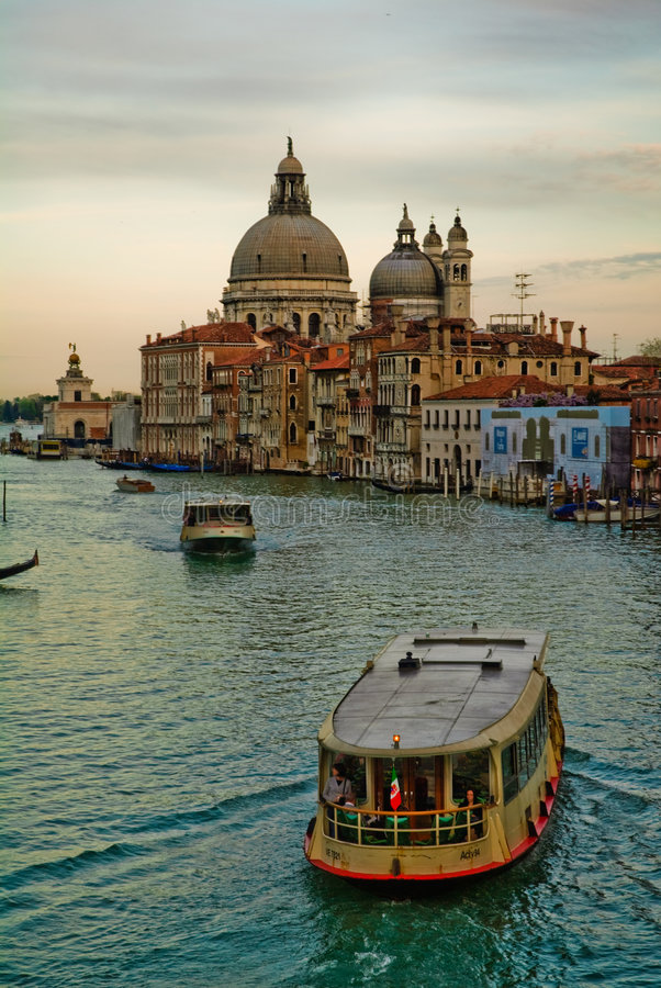 Tourist boats on Grand Canal stock images
