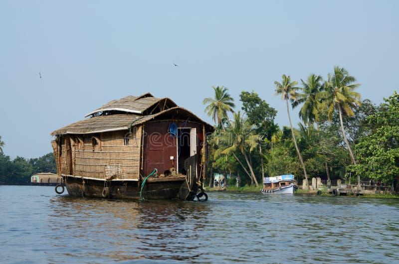 Tourist boats at Kerala backwaters,chain of lagoons and lakes lying parallel to Arabian Sea,India stock photos