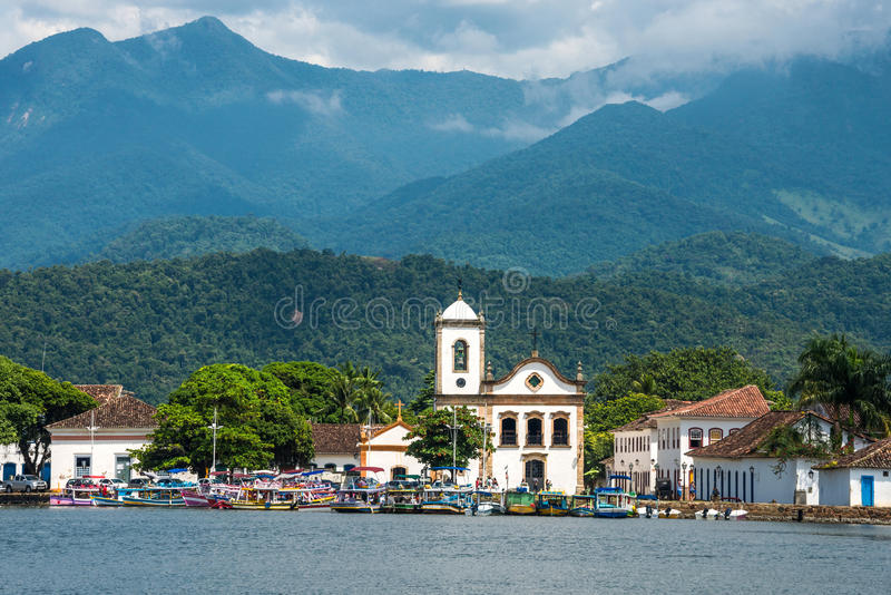 Tourist boats in Paraty, state Rio de Janeiro, Brazil stock photography