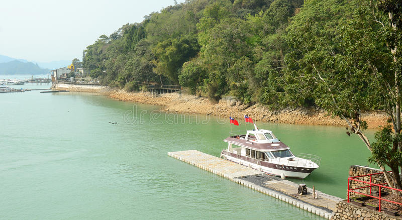 Tourist boats on Sun Moon Lake royalty free stock photography