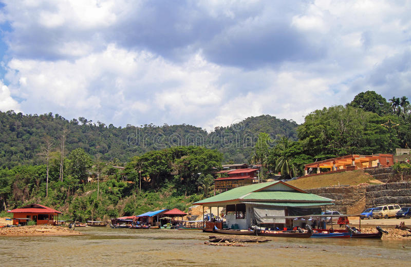 Tourist boats on Tembeling river in Taman Negara National Park royalty free stock photo