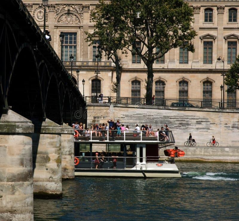 Tourist boattrip Seine royalty free stock images